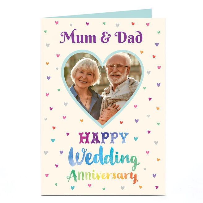 Photo Anniversary Card - Colourful Hearts