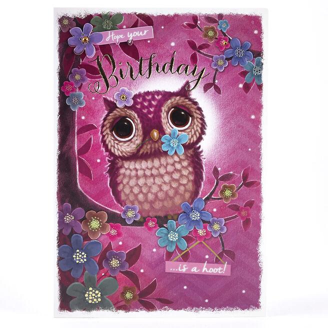 Birthday Card - Owl & Flowers