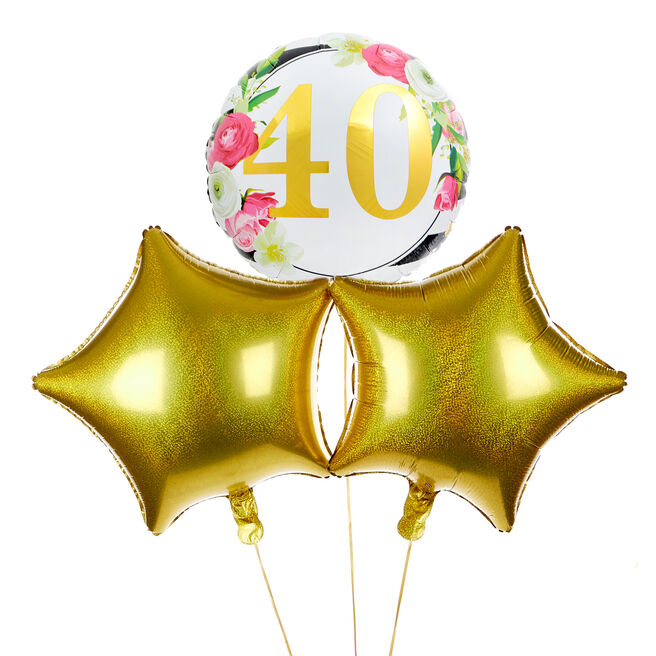 Floral 40th Birthday Balloon Bouquet - DELIVERED INFLATED!