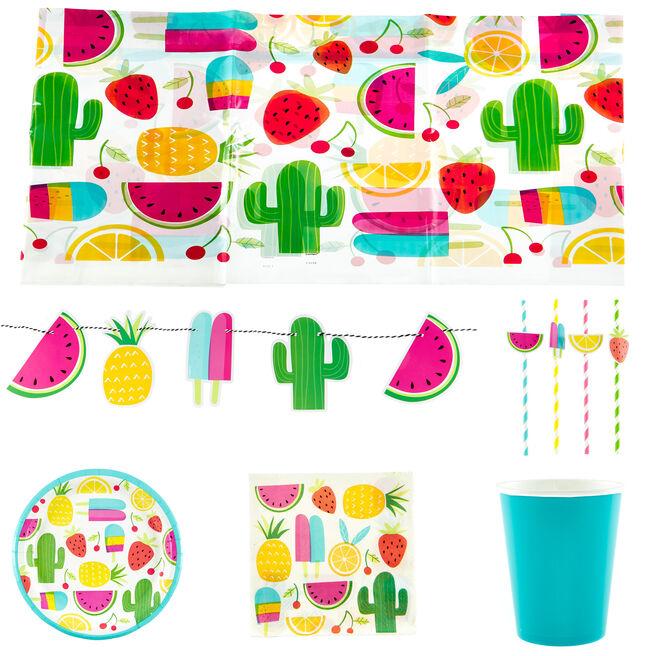 Sweet & Succulent Party Tableware & Decorations Bundle - 74 Pieces