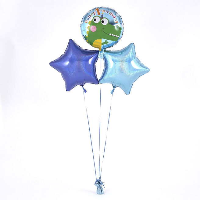 1st Birthday Crocodile Blue Balloon Bouquet - DELIVERED INFLATED!