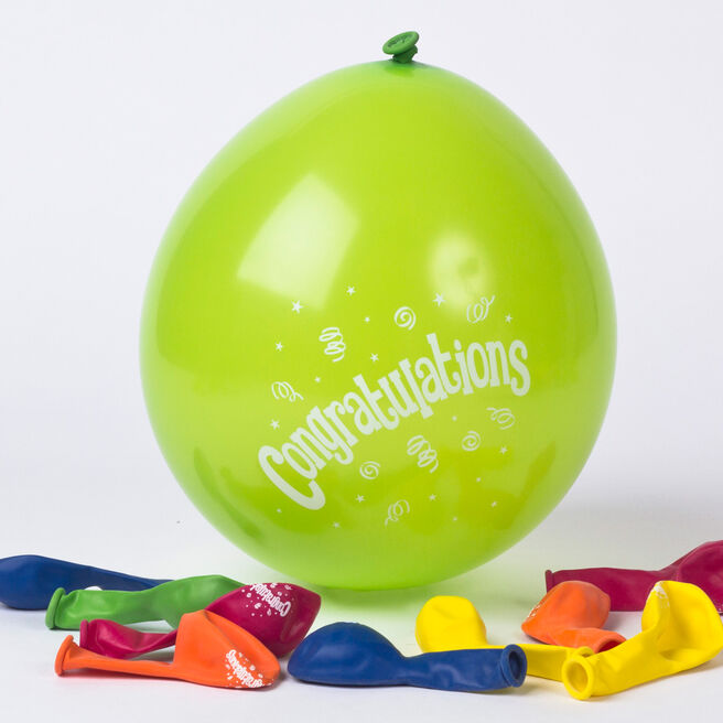 Multicoloured Congratulations Small Air-fill Latex Balloons, Pack Of 10