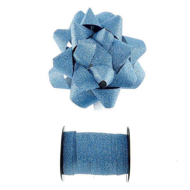 Light Blue Glitter Bow & Curling Ribbon