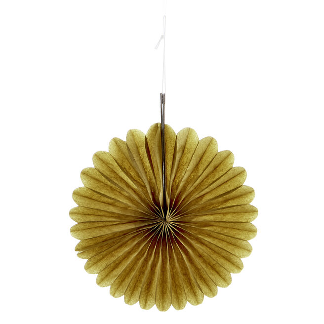 Mini Decorative Tissue Paper Fans - Gold (Pack of 3)