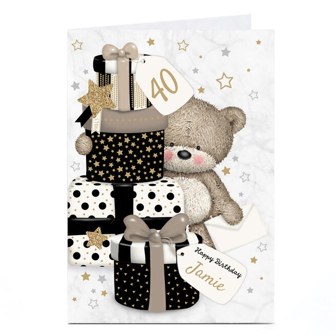 Personalised Any Age Hugs Bear Birthday Card - Black and Gold Gifts