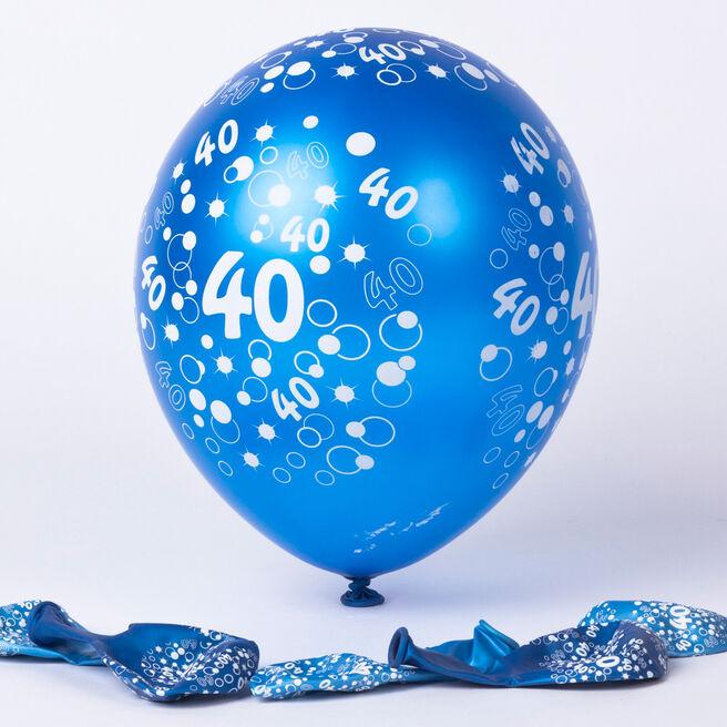Metallic Blue Circles 40th Birthday Helium Latex Balloons - Pack Of 6