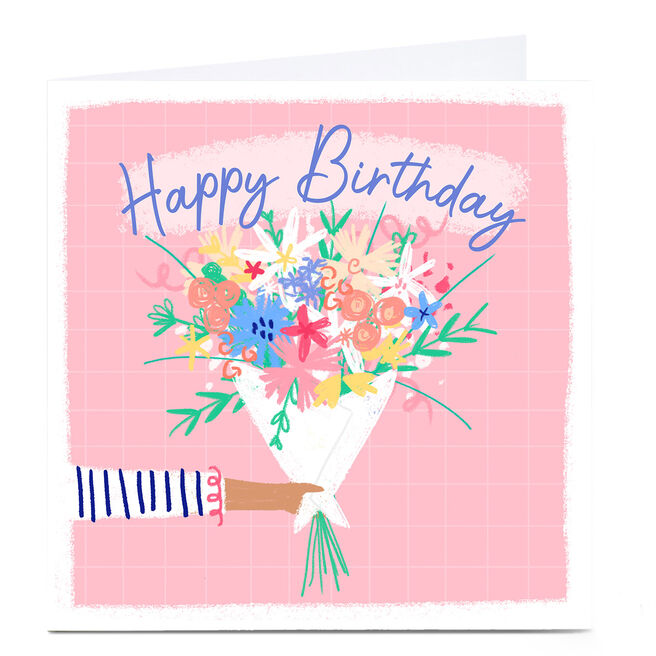 Personalised Little Mono Birthday Card - Pink Flowers