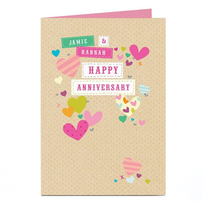 Personalised Anniversary Card - Pretty Hearts