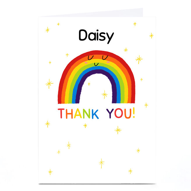Personalised Hew Ma Thank You Card -  Rainbow