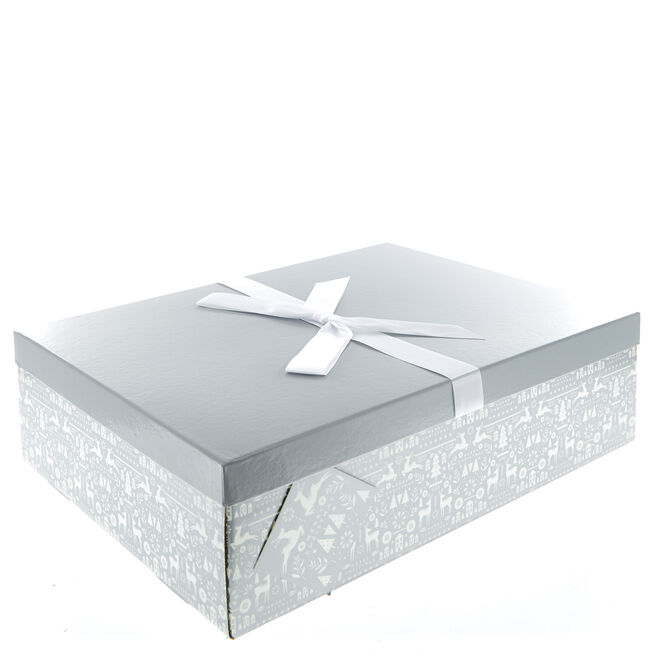 Silver & White Flat-Pack Christmas Gown Gift Box