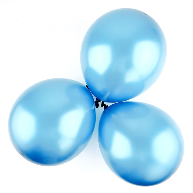 Metallic Pale Blue Latex Balloons - Pack Of 6