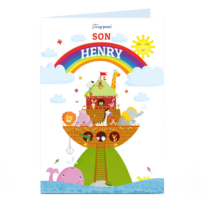 Personalised Baby Card - Animal Ark & Rainbow, Special Son