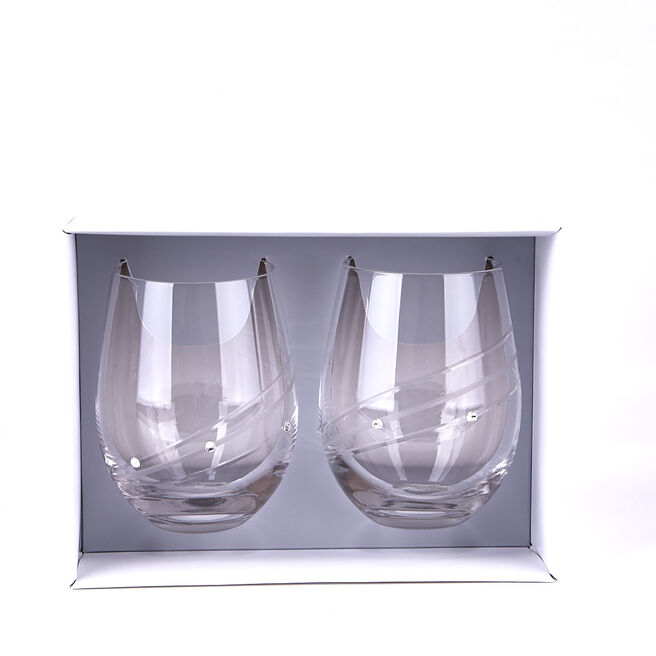 Engraved Diamante Glass Tumblers Set