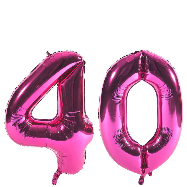 Age 40 Giant Foil helium Numeral Balloons - Pink (deflated)