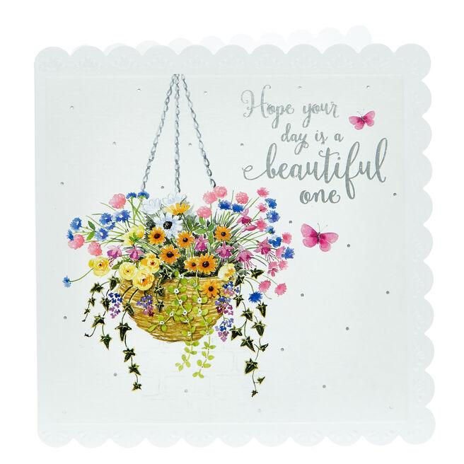 Birthday Card - Beautiful Hanging Basket