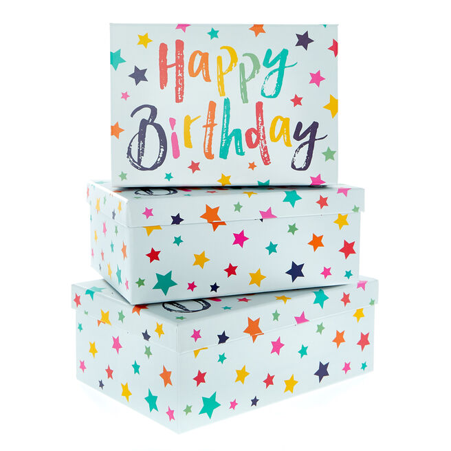 Starry Happy Birthday Gift Boxes - Set Of 3