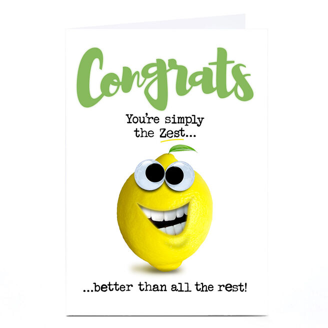 Personalised PG Quips Congratulations Card - You're Simply The Zest!