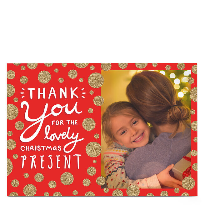 Photo Thank You Card - Red & Gold