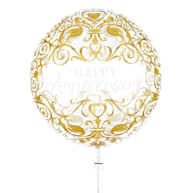 22-Inch Bubble Balloon - Happy Anniversary - DELIVERED INFLATED!