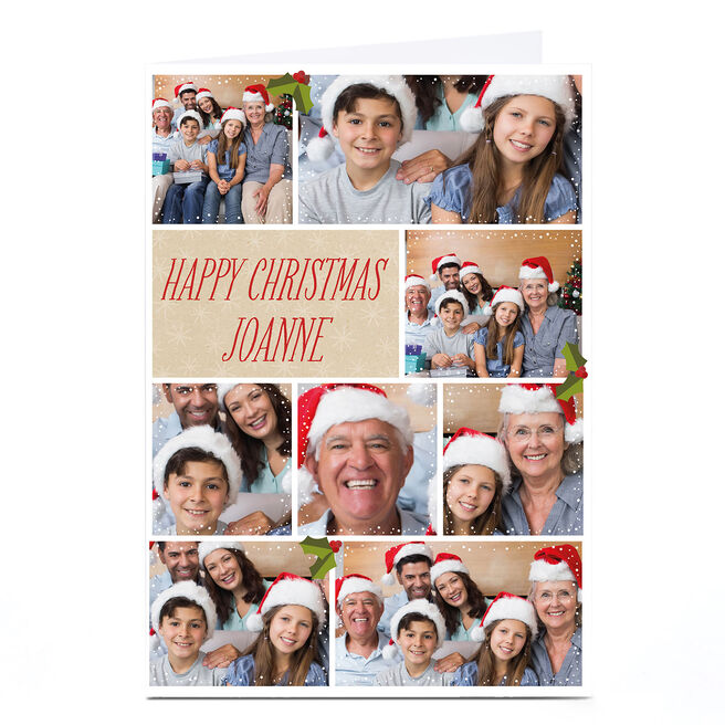 Multi Photo Christmas Card - Eight Photos With Holly Berries