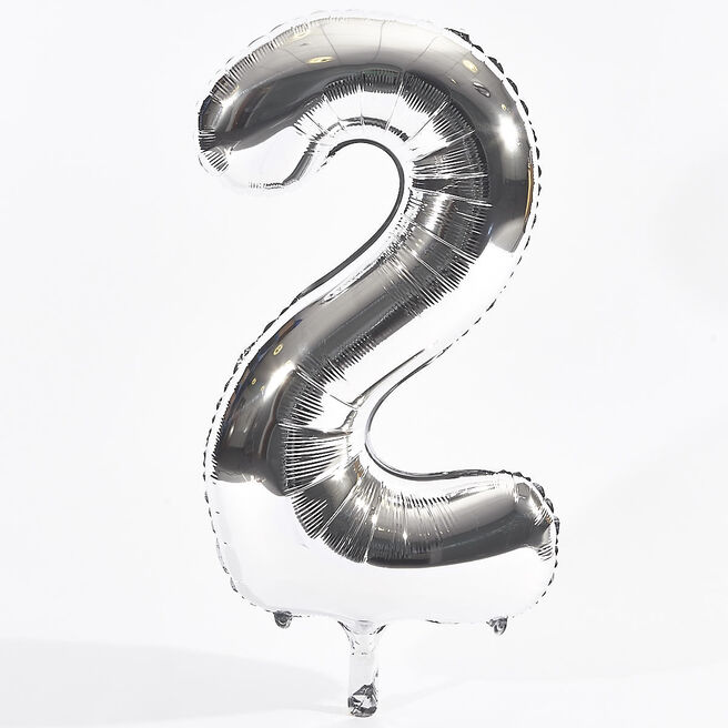 Silver Number 2 Foil Giant Helium Balloon (Deflated)