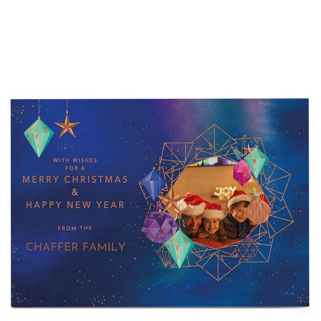 Photo Christmas Card - Geometric Baubles