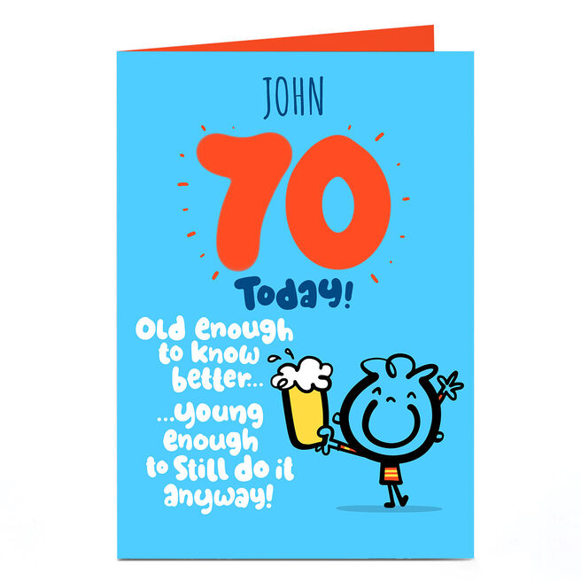 Personalised Fruitloops 70th Birthday Card - Old Enough Blue