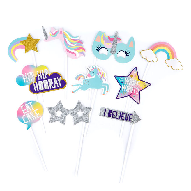 Unicorn Party Photo Booth Props - Pack of 10