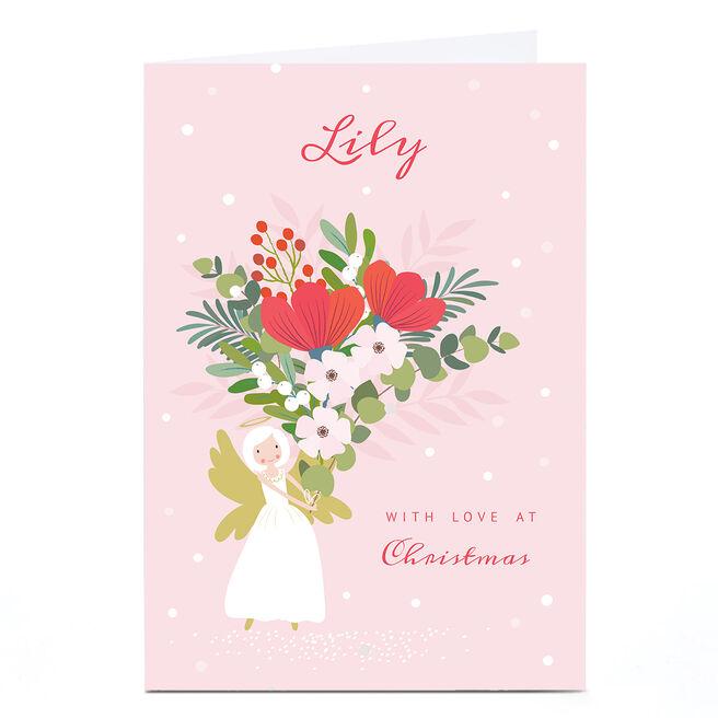 Personalised Klara Hawkins Christmas Card - Angel Flowers