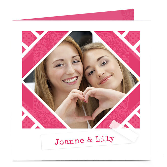 Photo Card - Pink Patterned With Tape