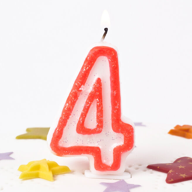 Pink Glittery Number 4 Birthday Candle