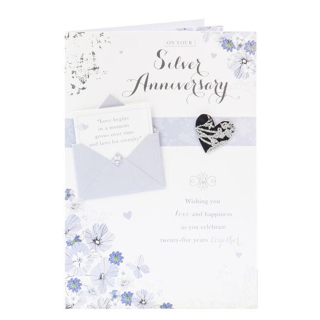 25th Wedding Anniversary Card - Wishing You Love & Happiness