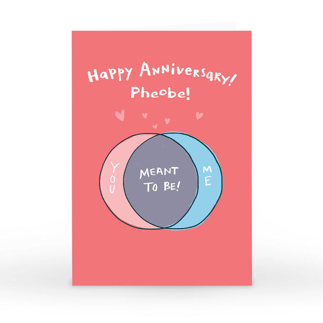 Personalised Hew Ma Anniversary Card - Meant To Be!