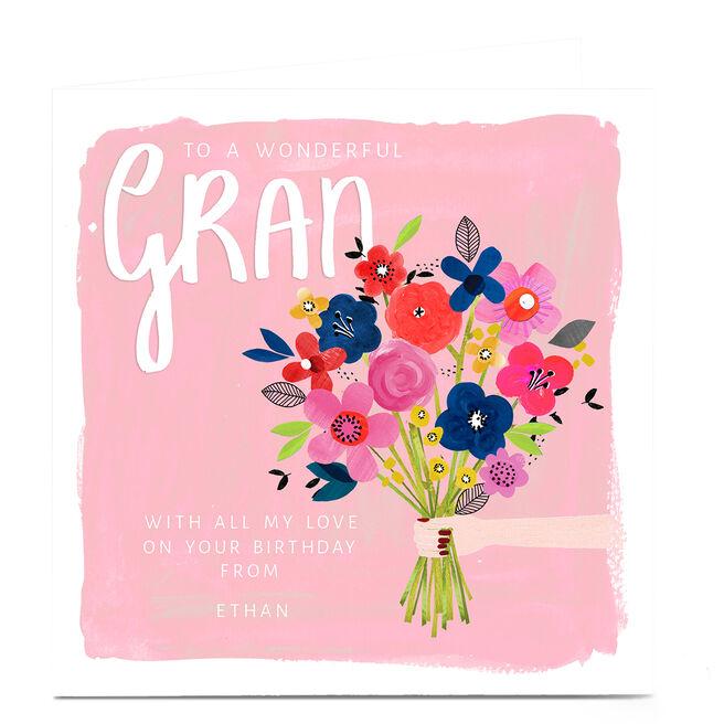 Personalised Kerry Spurling Birthday Card - Flowers Gran