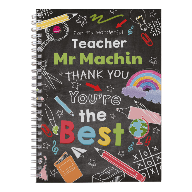 Personalised Thank You Teacher Notebook - Chalkboard, You're The Best