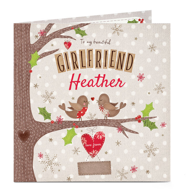 Personalised Christmas Card - Birds in a Tree Girlfriend