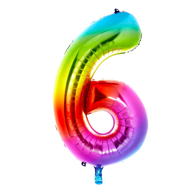 Giant Rainbow Number 6 Foil Helium Balloon - DEFLATED