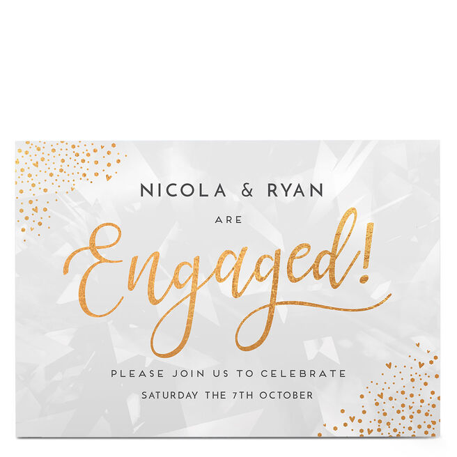 Personalised Engagement Party Invitation - Gold Hearts