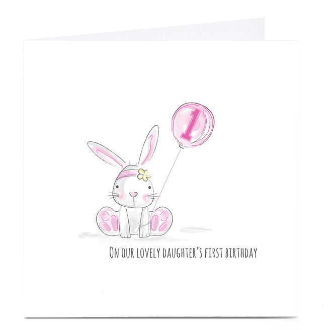 Personalised Rachel Griffin Birthday Card - Pink Rabbit, 1