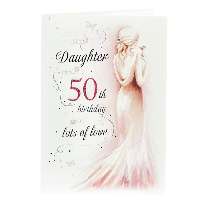 50th Birthday Card - Daughter, With Lots Of Love