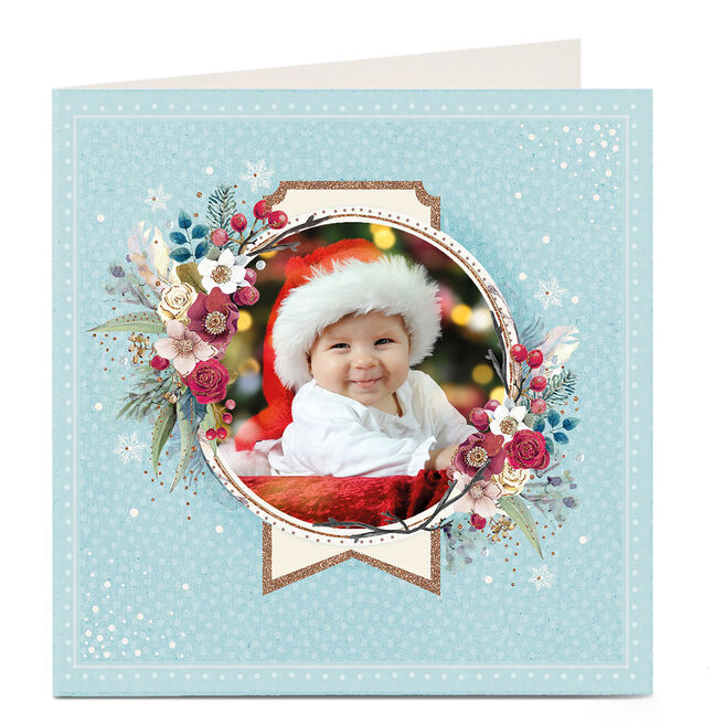 Photo Upload Christmas Card - Blue Floral