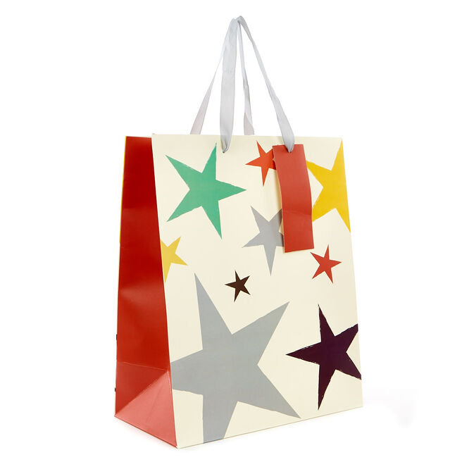 Medium Portrait Gift Bag - Coloured Stars