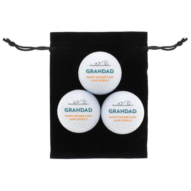 Personalised Golf Ball Set - Grandad The Legend