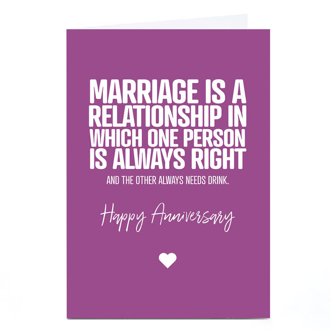 Personalised Punk Anniversary Card - Marriage Is...
