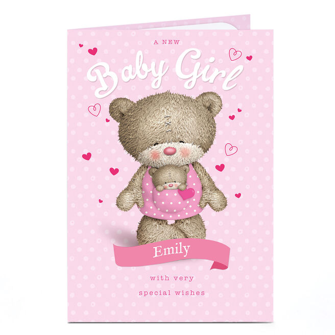 Personalised Hugs New Baby Card - A New Baby Girl