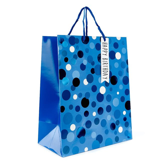 Medium Blue Dot Birthday Gift Bag