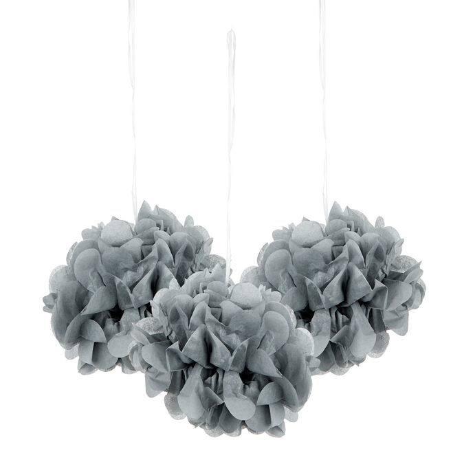 Mini Tissue Paper Pom-Pom Party Decorations - Silver (Pack Of 3)