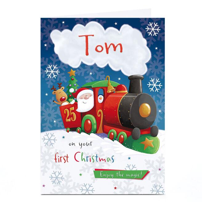 Personalised 1st Christmas Card - Santa On A Train