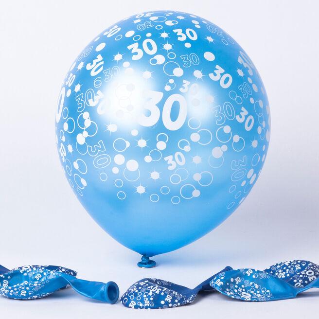 Metallic Blue 30th Birthday Helium Latex Balloons - Pack Of 6