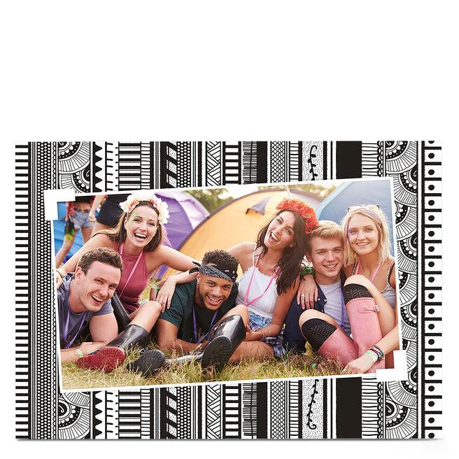 Photo Card - Monochrome Aztec Pattern